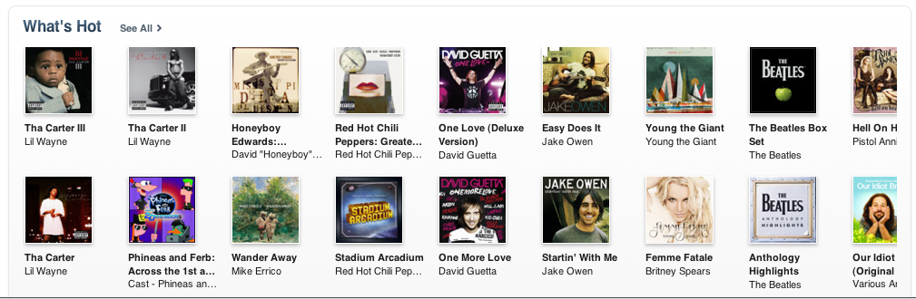 "What's Hot? The iTunes Homepage, Featuring ""Wander Away"""