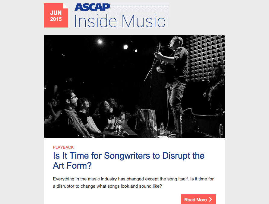 ASCAP Runs My Piece on The Future of Songwriting